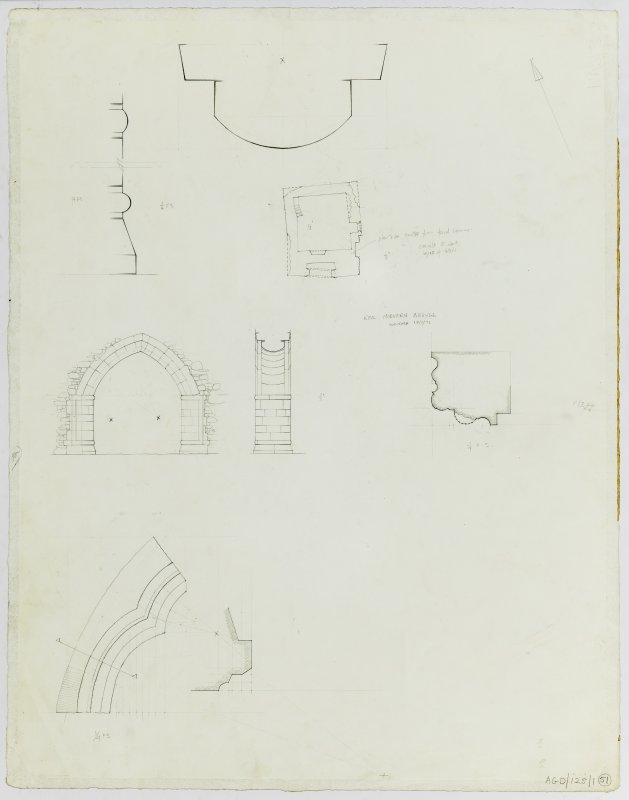 "Survey drawing; plan of aisle (1/8"":1'), elevation and section of arch (1/4"":1'), architectural details (1/4 full)"