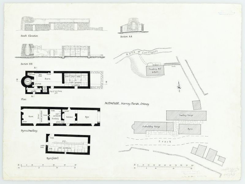 Inked drawing; site plan, detailed plans, sections and elevation
