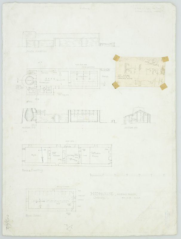 Survey drawing; plans, sections and elevation