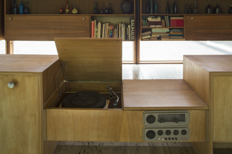 Living room. Detail of built in record player.