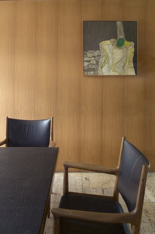 Dining room. Detail of chair and painting.