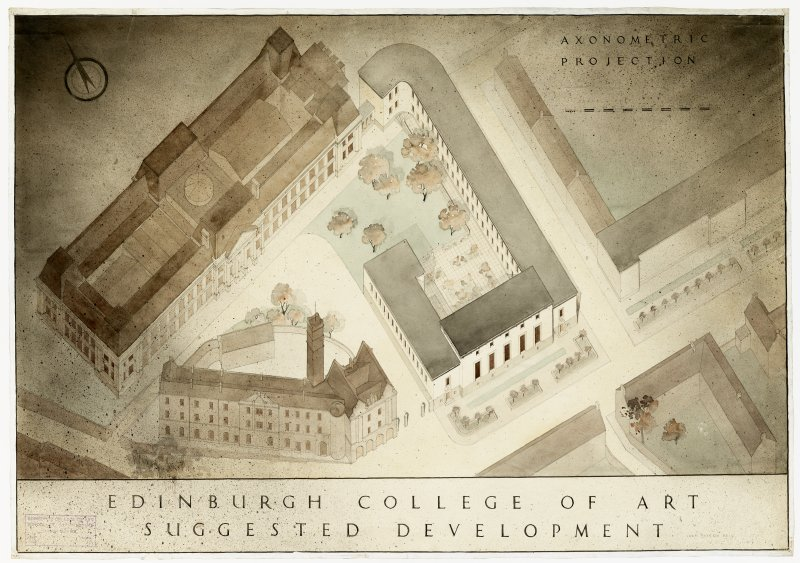 Axonometric projection of Edinburgh College of Art, showing suggested developments by Jean Payton Reid