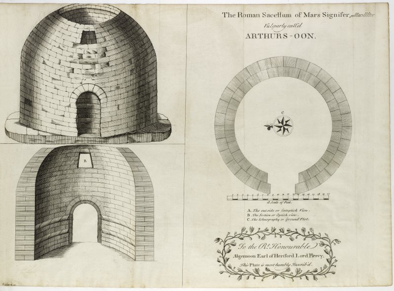 Plan and section of Arthur's O'on Roman temple.