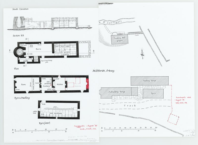 Inked drawing; site plan, detailed plans, sections and elevation. Amendments noted in August 1985