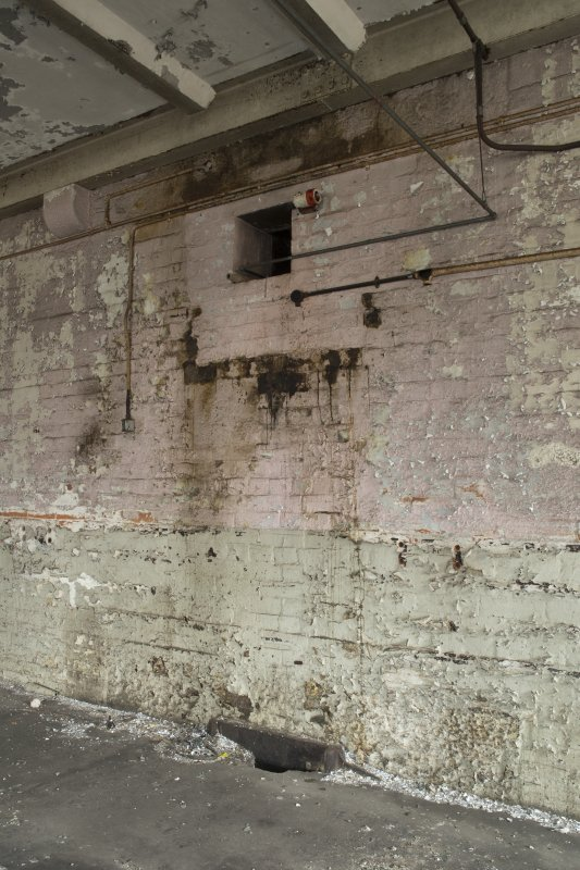 Interior. New Mill (also known as North Mill, c.1860, spinning), 2nd floor, north end. Hole in wall for drive shaft (removed)