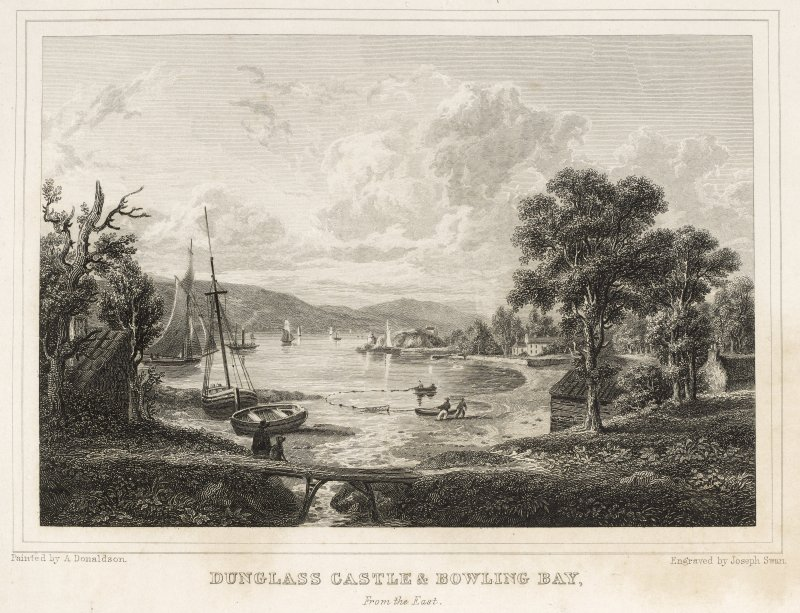 Engraving of Bowling Bay and Dunglass Castle.