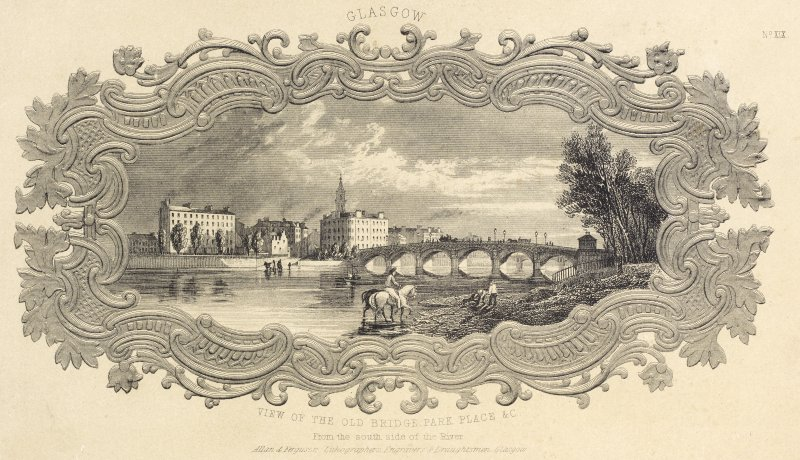 Engraving of View of The Old Bridge, Park Place & C (from the south side of the River