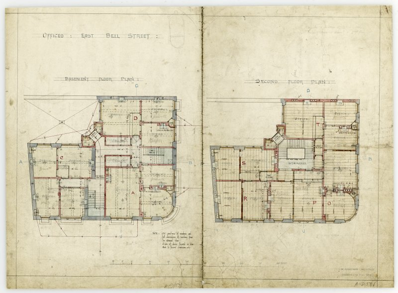 Drawing showing basement and second floor plans for offices, East Bell Street, Dundee.