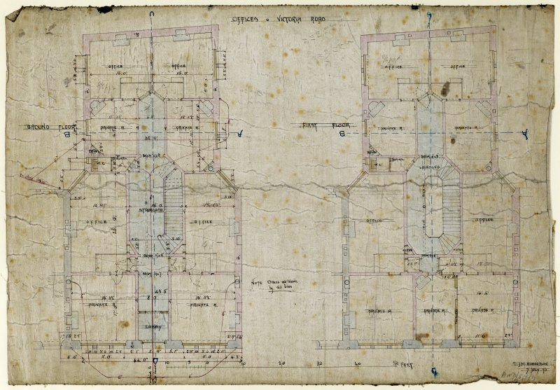 Drawing showing ground and first floor plans for offices, Victoria Road, Dundee.