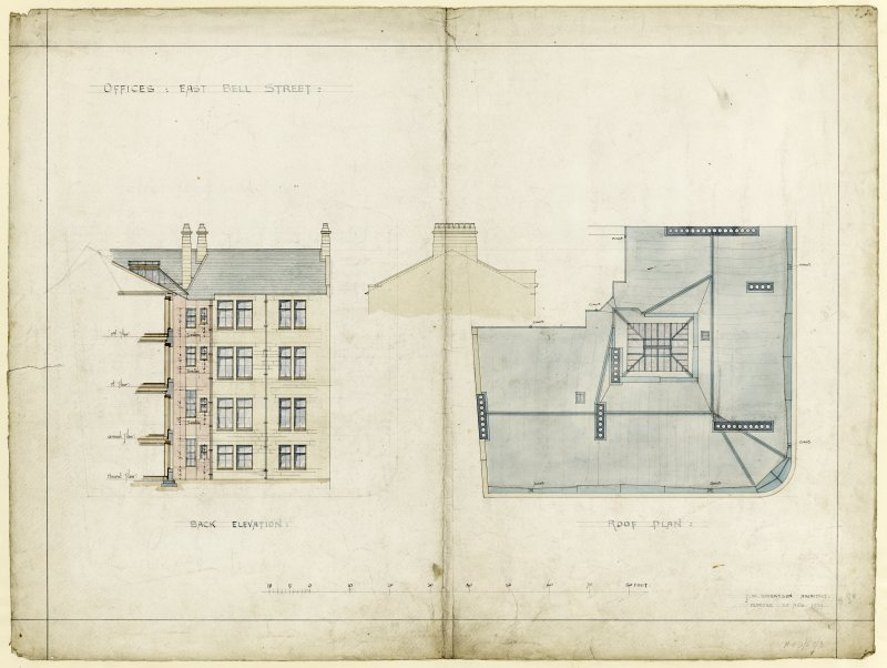 Drawing showing back elevation and roof plan for offices, East Bell Street, Dundee.