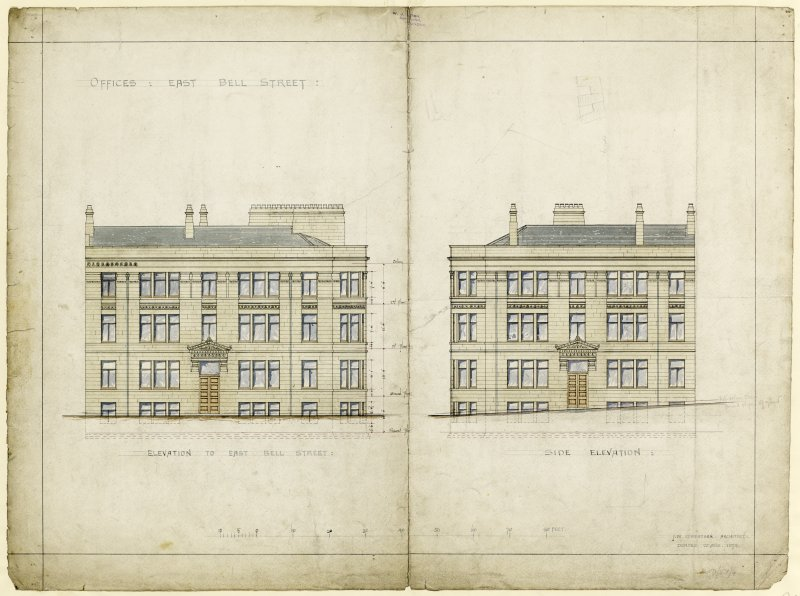 Drawing showing elevations for offices, East Bell Street, Dundee.