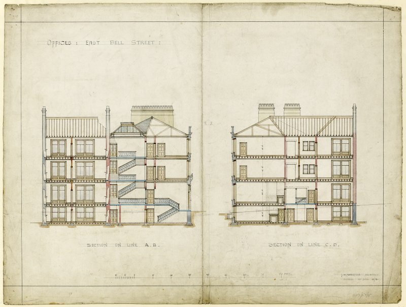 Drawing showing sections for offices, East Bell Street, Dundee.