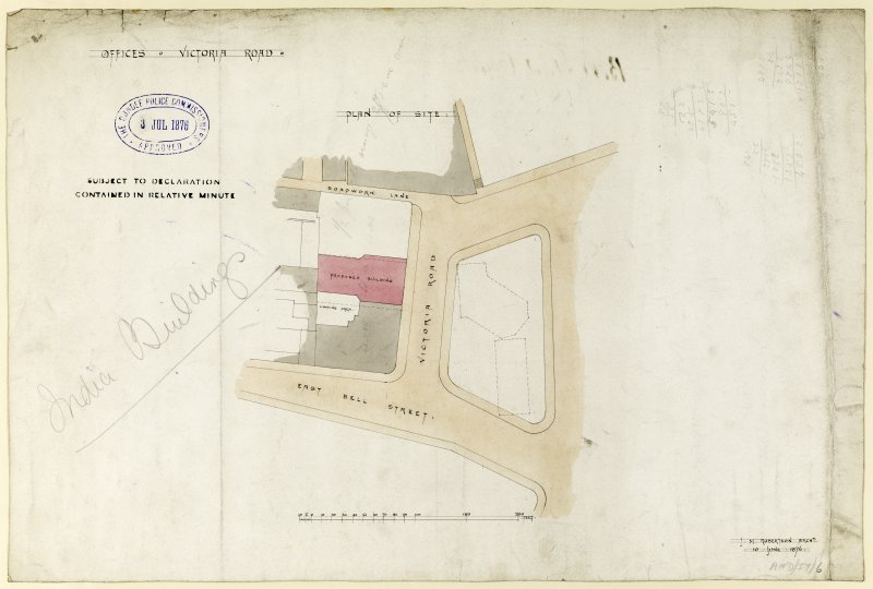 Drawing showing site plan for offices, Victoria Road, Dundee.