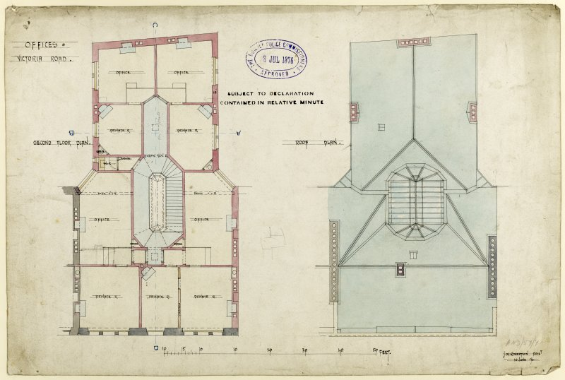 Drawing showing second floor and roof plans for offices, Victoria Road, Dundee.