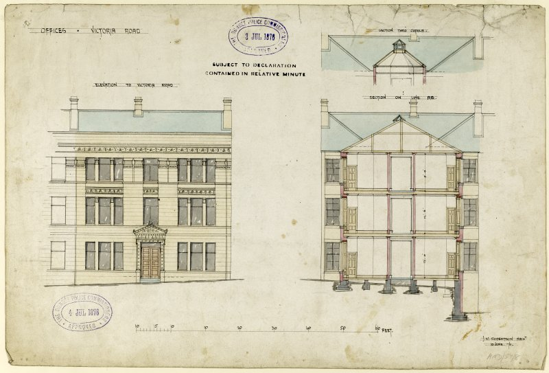 Drawing showing elevation and sections for offices, Victoria Road, Dundee.