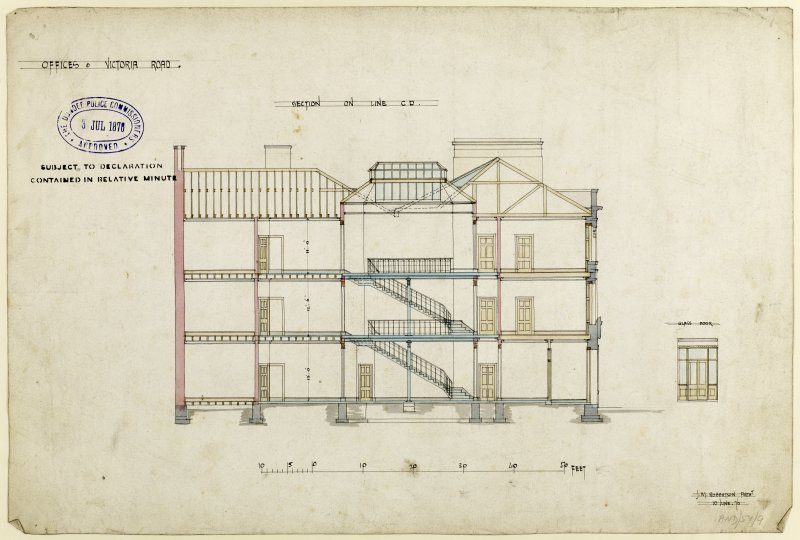 Drawing showing section for offices, Victoria Road, Dundee.