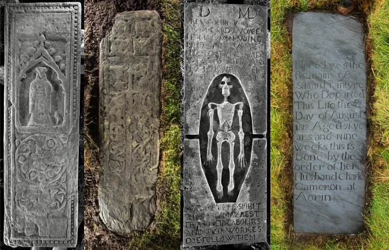 Selected medieval and modern graveslabs at Eilean Fhianain (composite image)
