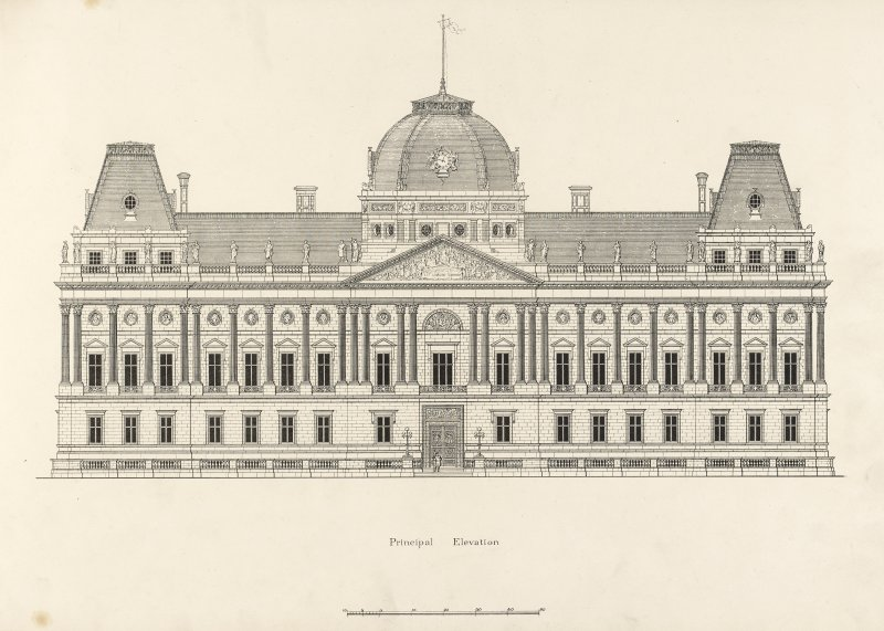 Drawing of principal elevation, Glasgow Municipal Buildings.