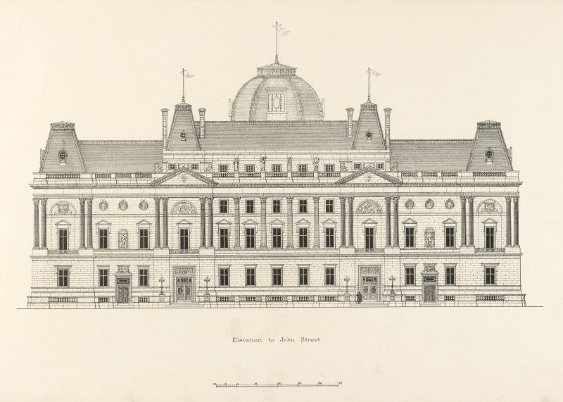 Drawing of elevation to John Street, Glasgow Municipal Buildings.