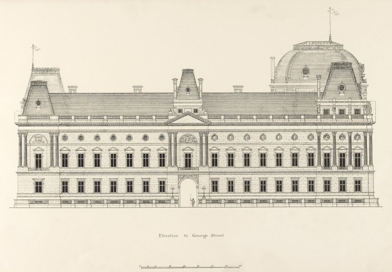 Drawing of elevation to George Street, Glasgow Municipal Buildings.