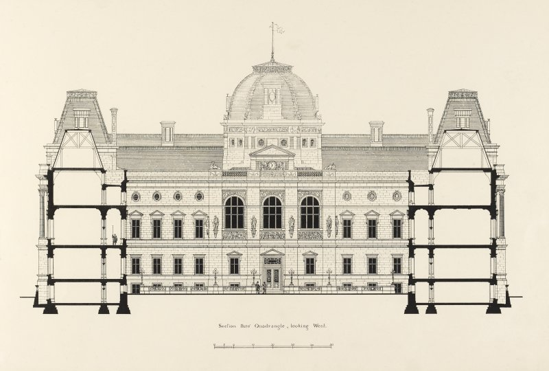 Drawing of section through the Quadrangle looking West, Glasgow Municipal Buildings.