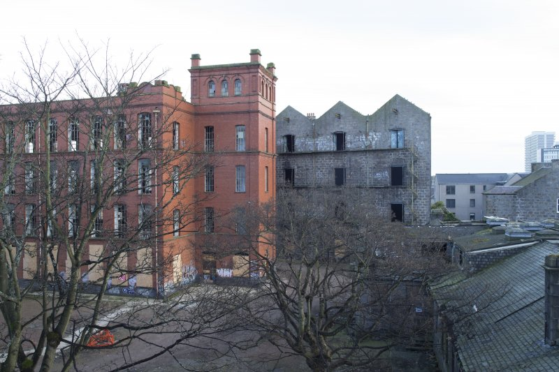 View of south end of New North and South Mills (1913-14) and Raw Jute Warehouse.