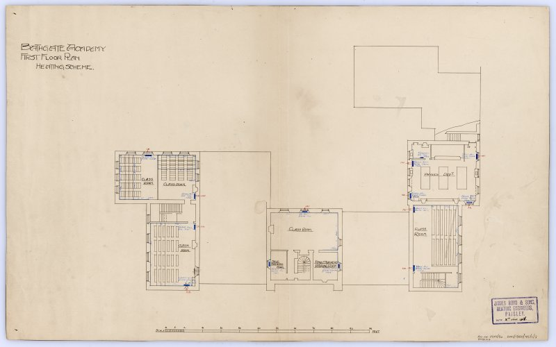 Sketch plans of proposed additions. Plans of heating scheme.