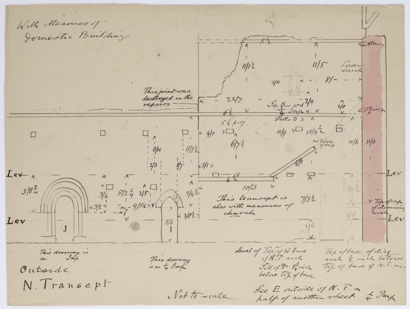 Drawing showing elevation of W wall of N transept of Iona Abbey church.