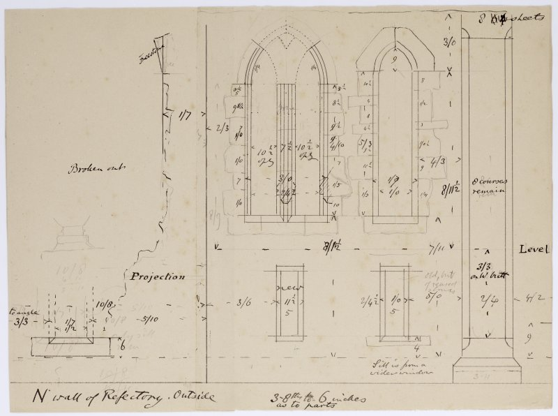 Drawing showing elevation of N wall of refectory, Iona Abbey.