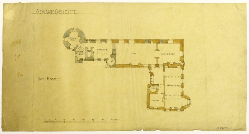 First Floor Plan. Proposed restoration and additions for Wm Burrell (not executed). R S Lorimer