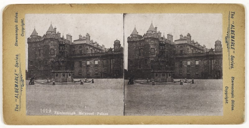 General view from SW showing Fountain and Holyrood Palace, Edinburgh