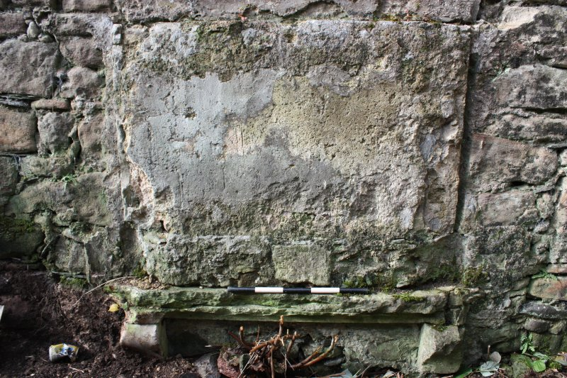 Detail of lintel at base of West wall in North room