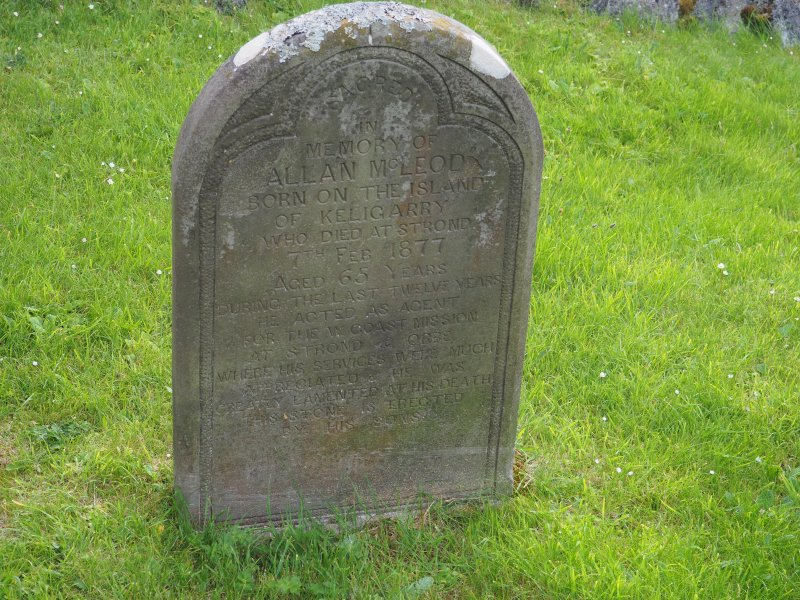 Rodel burial ground; gravestone of Allan Mcleod d.1877, agent of West Coast Mission.