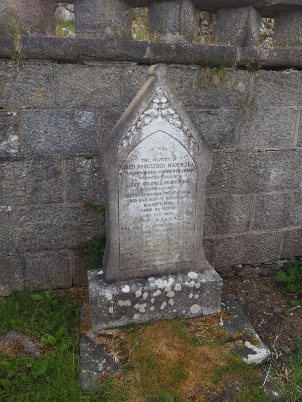 Rodel burial ground; monument to John Robertson Macdonald d.1874, 'factor of Harris for 31 years'.