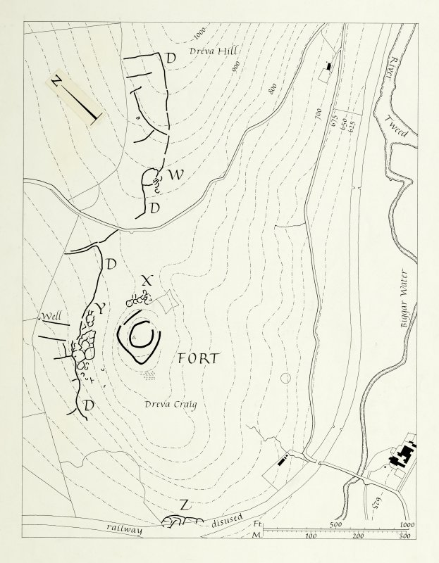 Publication drawing; fort, settlements and field system, Dreva