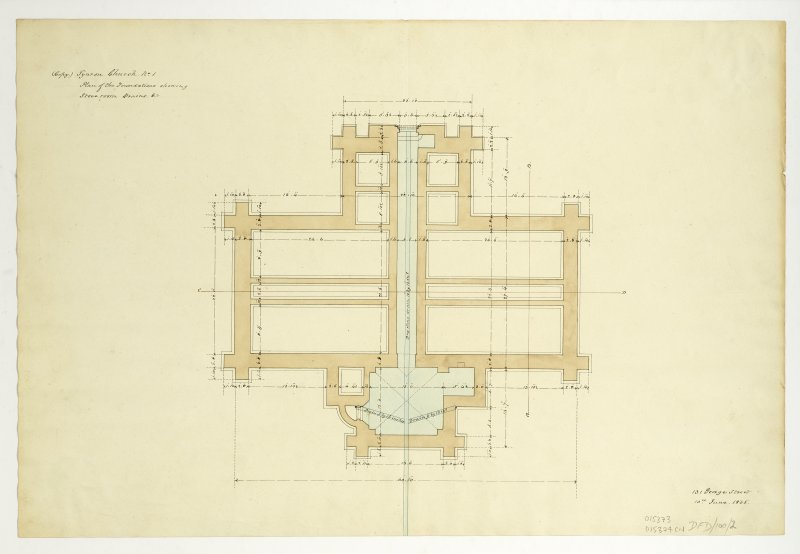 Drawing showing plan of foundations, Tynron Parish Church.