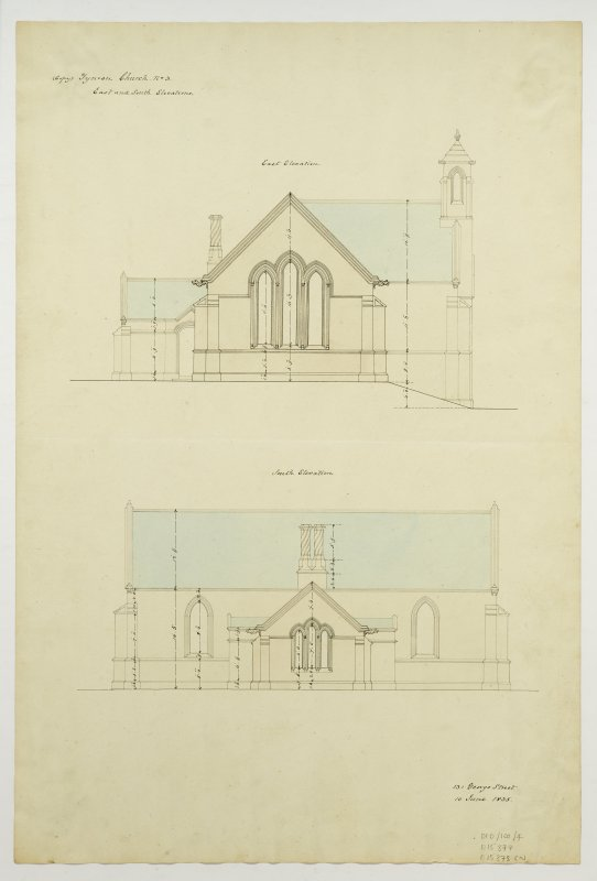 Drawing showing east and south elevations, Tynron Parish Church.