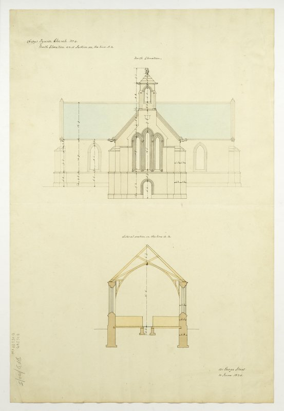 Drawing showing north elevation and section, Tynron Parish Church.