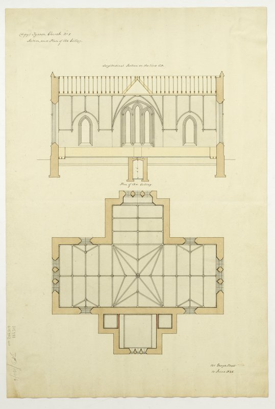Drawing showing longitudinal section and plan of ceiling, Tynron Parish Church.