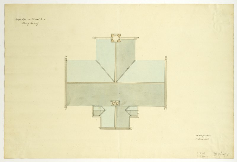 Drawing showing plan of roof, Tynron Parish Church.