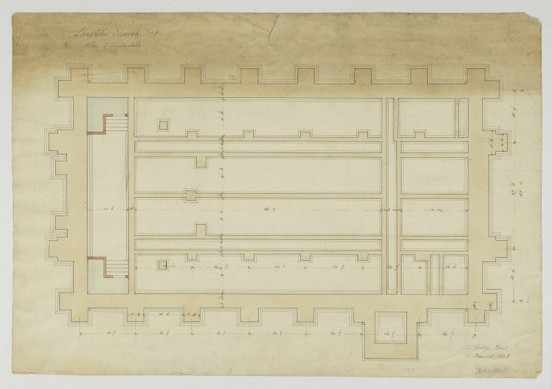 Drawing showing plan of foundations, Langholm Parish Church.