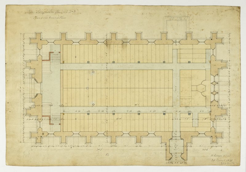 Drawing showing plan of ground floor, Langholm Parish Church.
