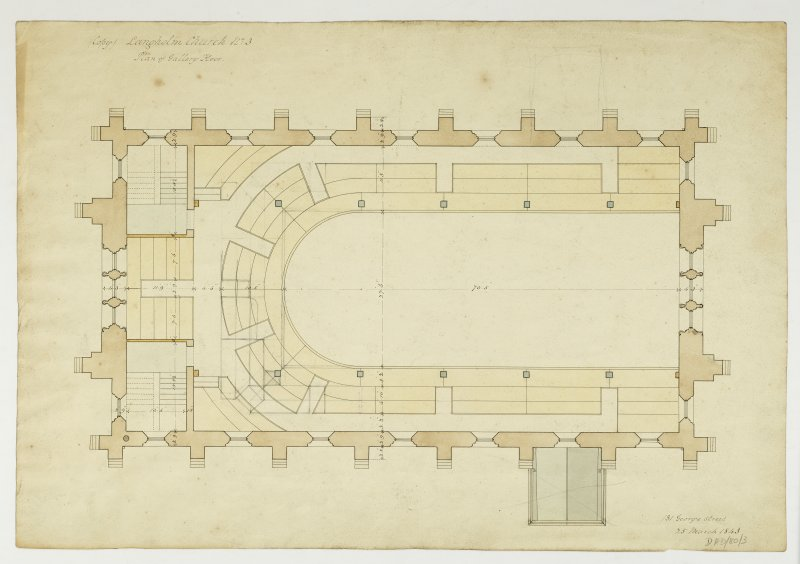 Drawing showing plan of gallery floor, Langholm Parish Church.