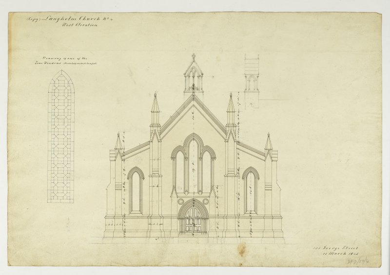 Drawing showing West elevation and detail of zinc window, Langholm Parish Church.