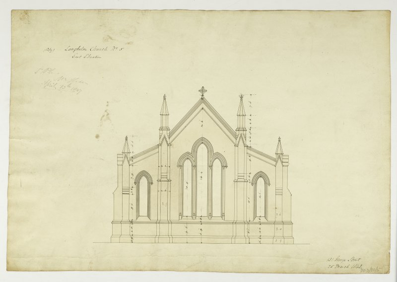 Drawing showing East elevation, Langholm Parish Church.