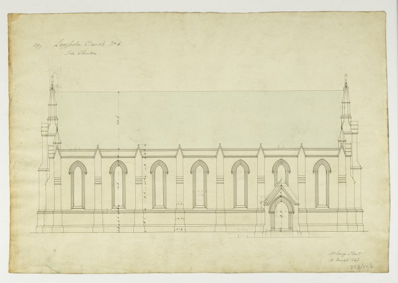 Drawing showing side elevation, Langholm Parish Church.
