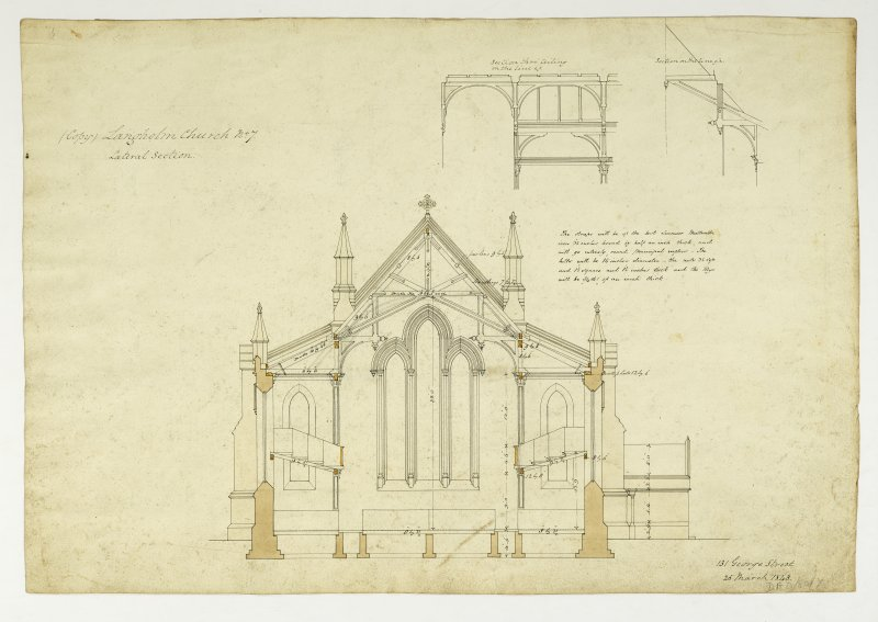 Drawing showing lateral section and details, Langholm Parish Church.