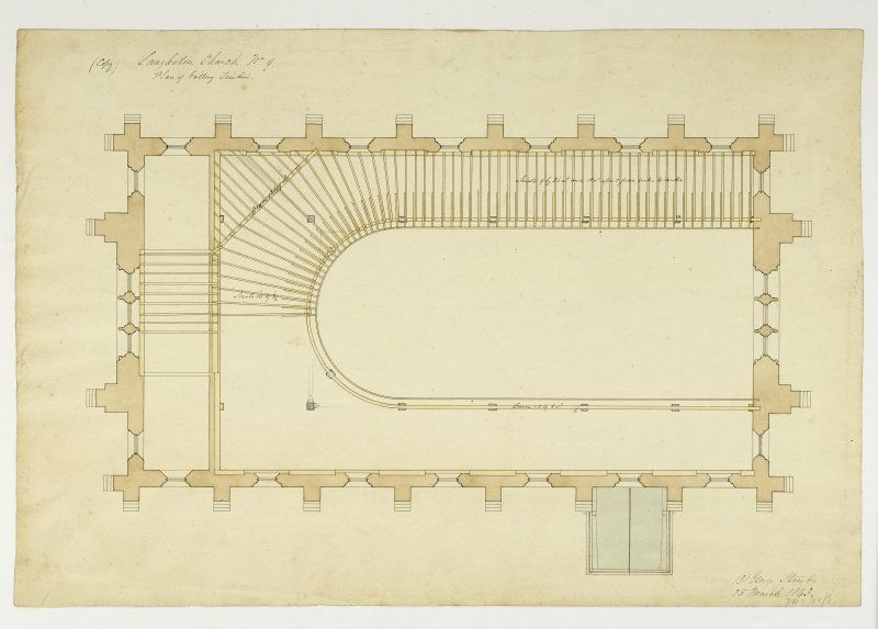 Drawing showing plan of gallery timbers, Langholm Parish Church.