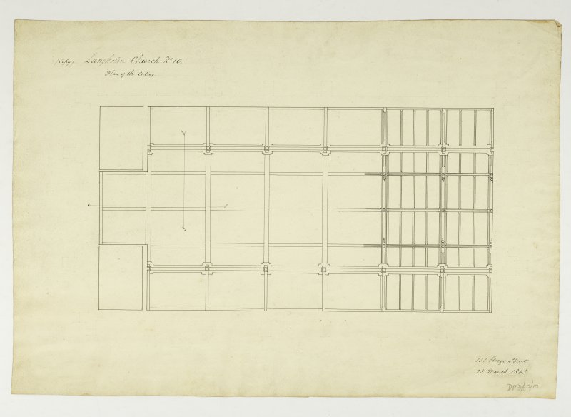 Drawing showing plan of the ceiling, Langholm Parish Church.