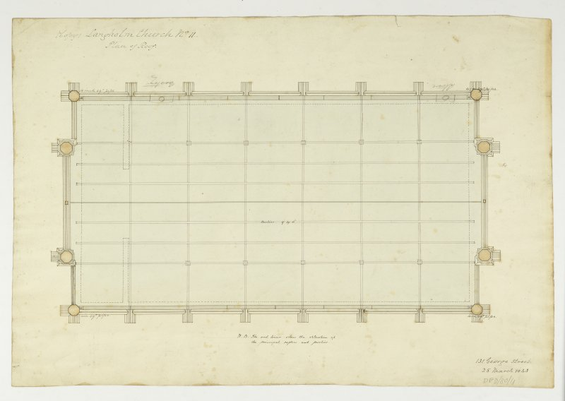 Drawing showing plan of the roof, Langholm Parish Church.